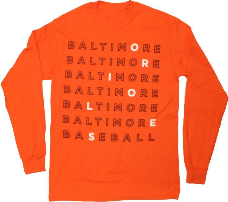 Baltimore Baseball Text (Orange) / Long Sleeve Shirt #Long-Sleeves