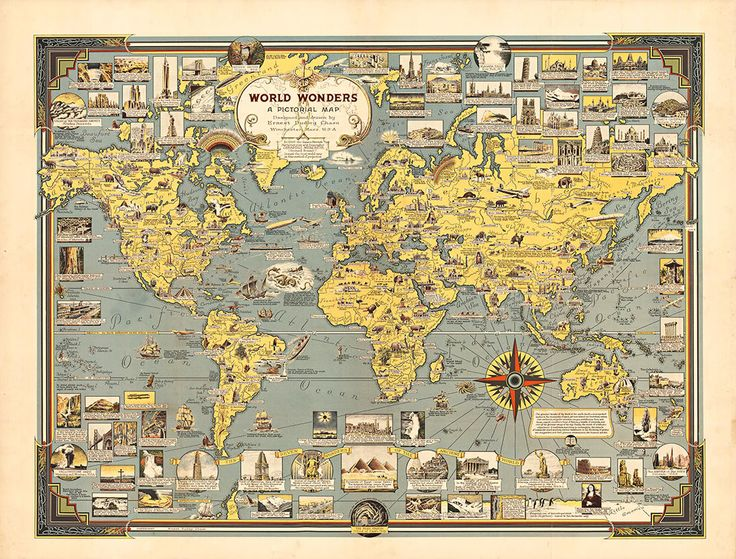 23 best maps images on pinterest maps cards and globes masterpiece art world wonders a pictorial map 1939 3600 http gumiabroncs Image collections