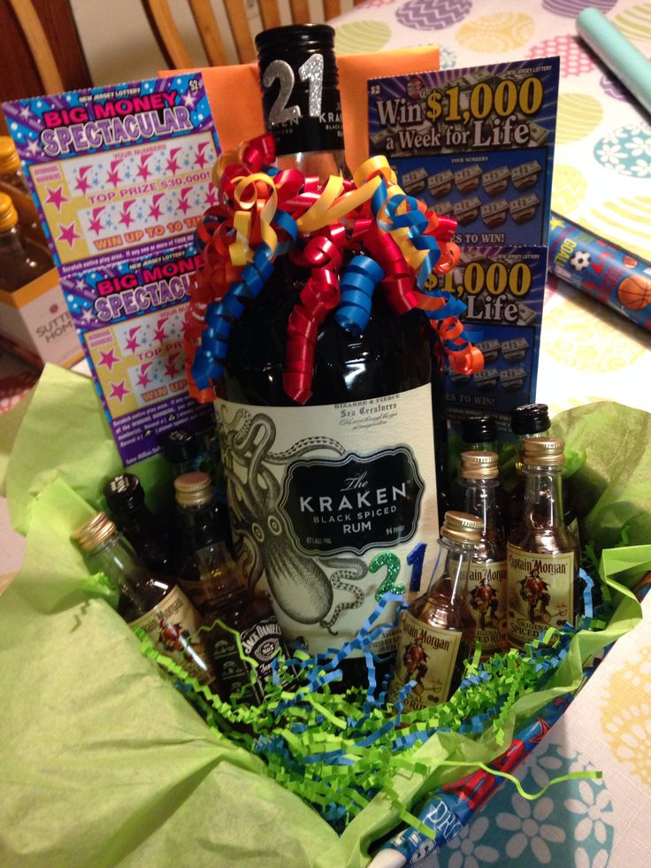 21st Birthday Gift Basket Alcohol : St birthday basket with alcohol and lottery tickets