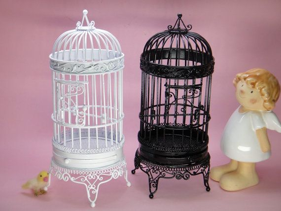 "Vintage Small Bird Cage - 6.6"" Height  - best for home decor wedding - mini bird cage"