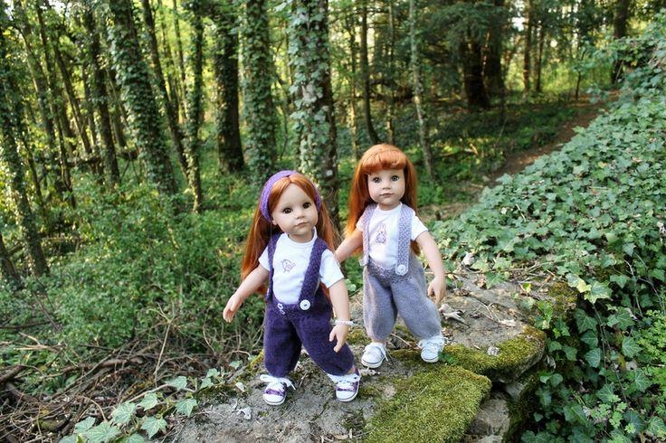Promenons-nous avec Amandine et Sybille + tuto pantalon bouffant à bretelles pour poupées Gotz (50 cms)