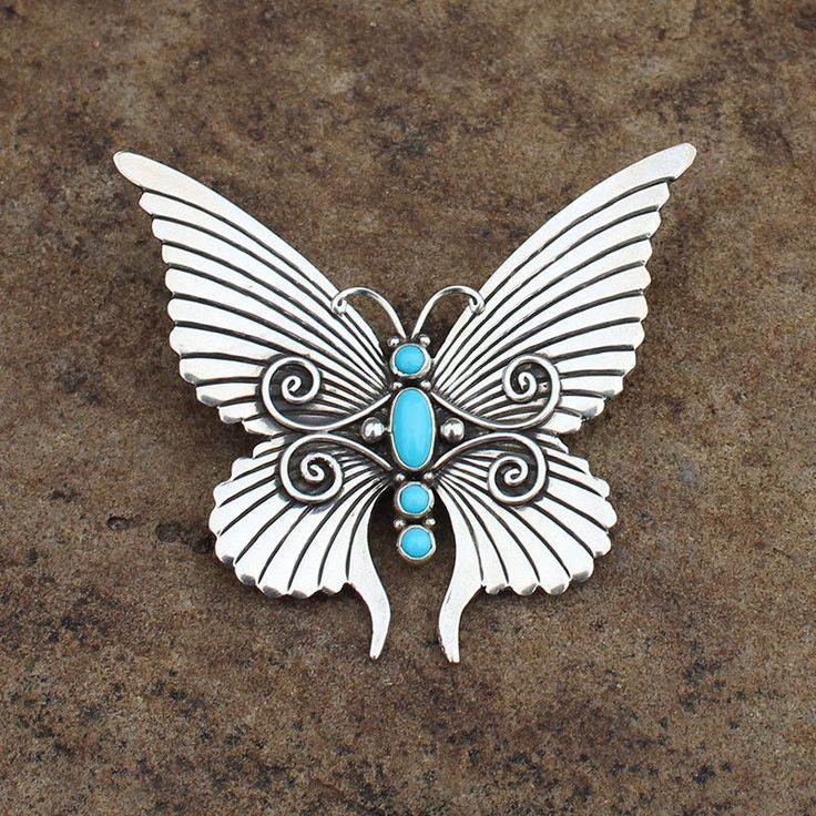 STERLING SILVER-TURQUOISE BUTTERFLY PIN by LEE CHARLEY-NAVAJO-NATIVE AMERICAN
