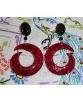 NovaGlitz - Red Confetti Lucite Dangle Earrings
