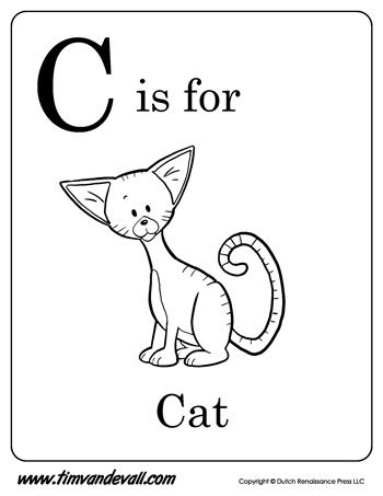 c is for cat letter c coloring page