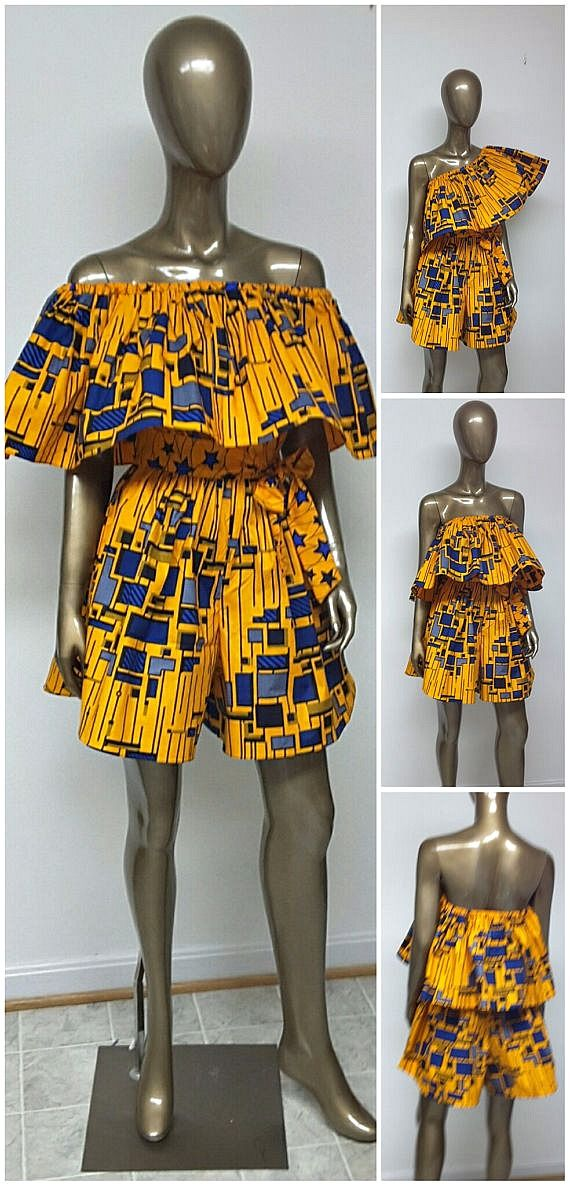 African Print Off-Shoulder Romper with pockets and sash. A must have to enhance your wardrobe for the Spring and Summer months. African Print Off-Shoulder Romper . Ankara Romper. Jumpsuit. Culottes. Playsuit. Pockets. Sash. Summer. Womens. Handmade.   Ankara   Dutch wax   Kente   Kitenge   Dashiki   African print dress   African fashion   African women dresses   African prints   Nigerian style   Ghanaian fashion   Senegal fashion   Kenya fashion   Nigerian fashion   Ankara crop top…