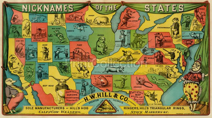 "Nicknames of the states. Names include, ""Corn Cracker, Gun Flints, Tar Heel, Whelp, Lizard and much more"". H.W. Hill & Co. Decatur Illinois sole manufacturer of Hill's hog ringers. First Published c18"