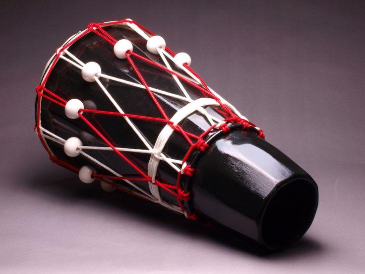 """Ashiko hand drum with ceramic tuners, 24"""" x 12""""."""