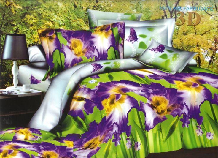 Super modna zielona pościel w fioletowe kwiaty