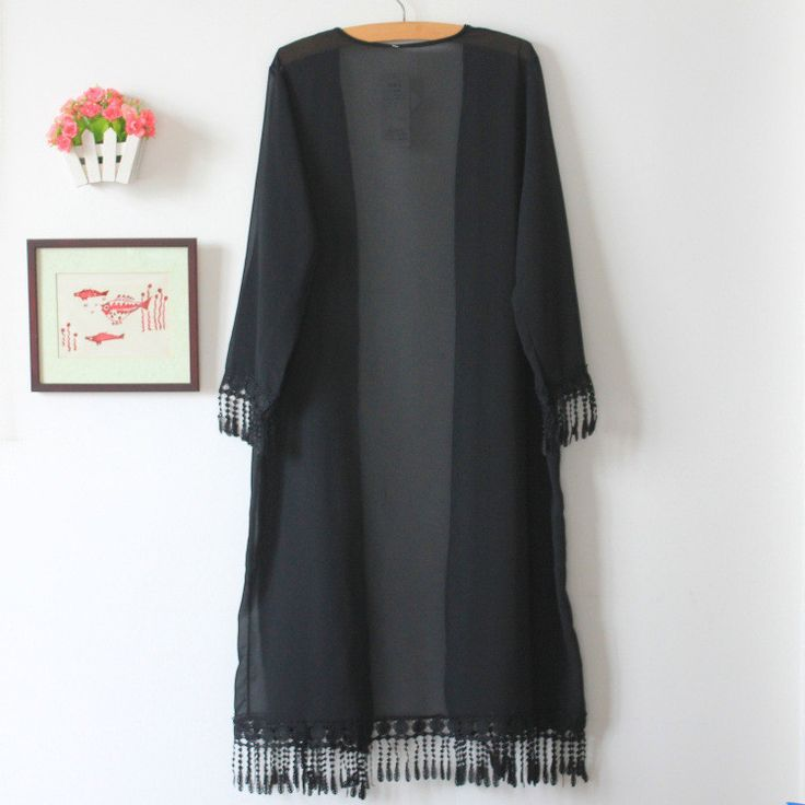 New Summer Elegant Transparent Lace Fringed Chiffon Cardigan Thin Models Plus Size Long Section Sun Protection Clothing 205