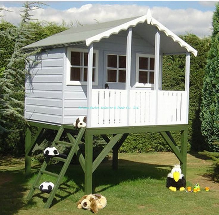 90 playhouse plans and accessories wendy house swingset for Wooden wendy house ideas