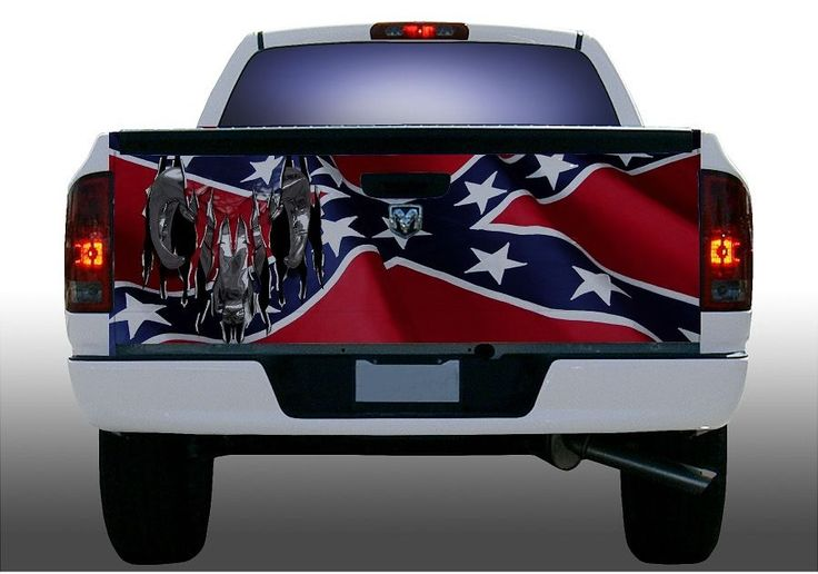 With rebel flag truck rear window decal on rebel flag truck wrap