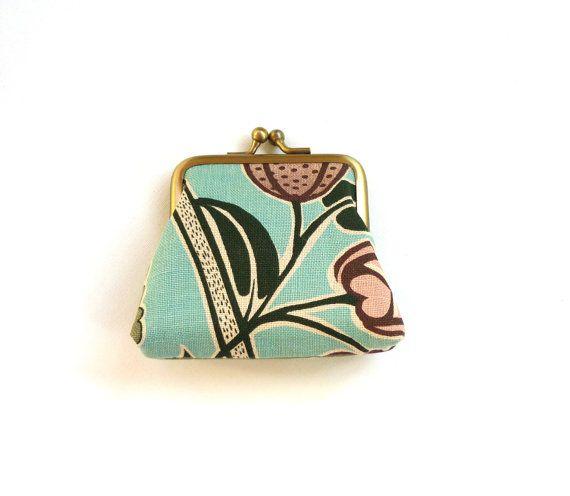 Art nouveau purse teal clutch aqua seafoam green by maplemist