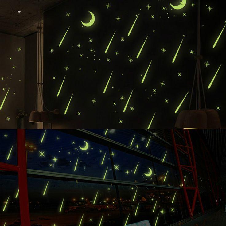 Световой метеорный поток предметы интерьера стены стикеры флуоресцентный луна звезды светятся в темноте окна искусство для ребенка детская комната купить на AliExpress
