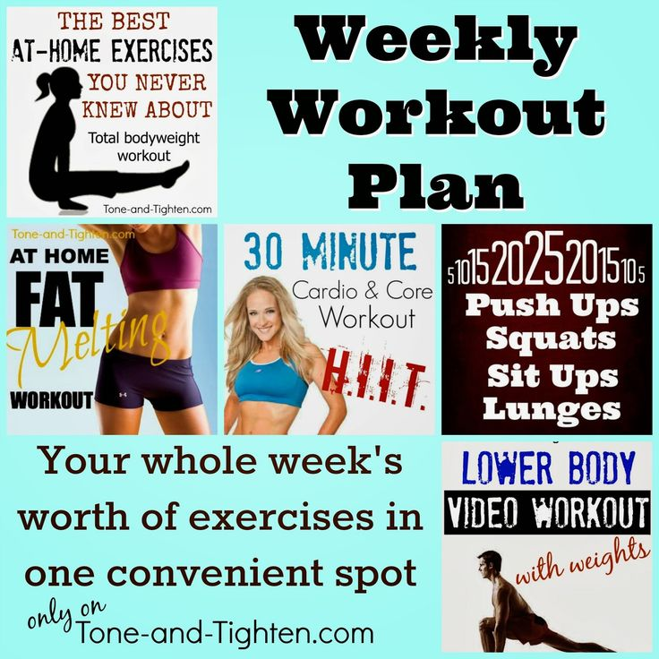 New weekly workout plan on Tone-and-Tighten.com! Your entire week's workouts in one convenient package! #workout #fitness