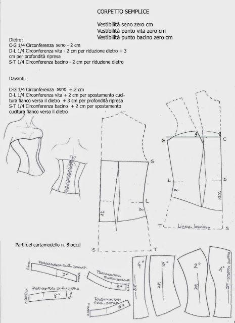 I Quaderni di Studio Manie: CARTAMODELLO CORPETTO BUSTINO SEMPLICE CON LACCI DIETRO