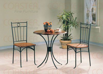 3 Piece Dining Set   Bistro Metal U0026 Wood, Dining Tea Table U0026 2 Chairs