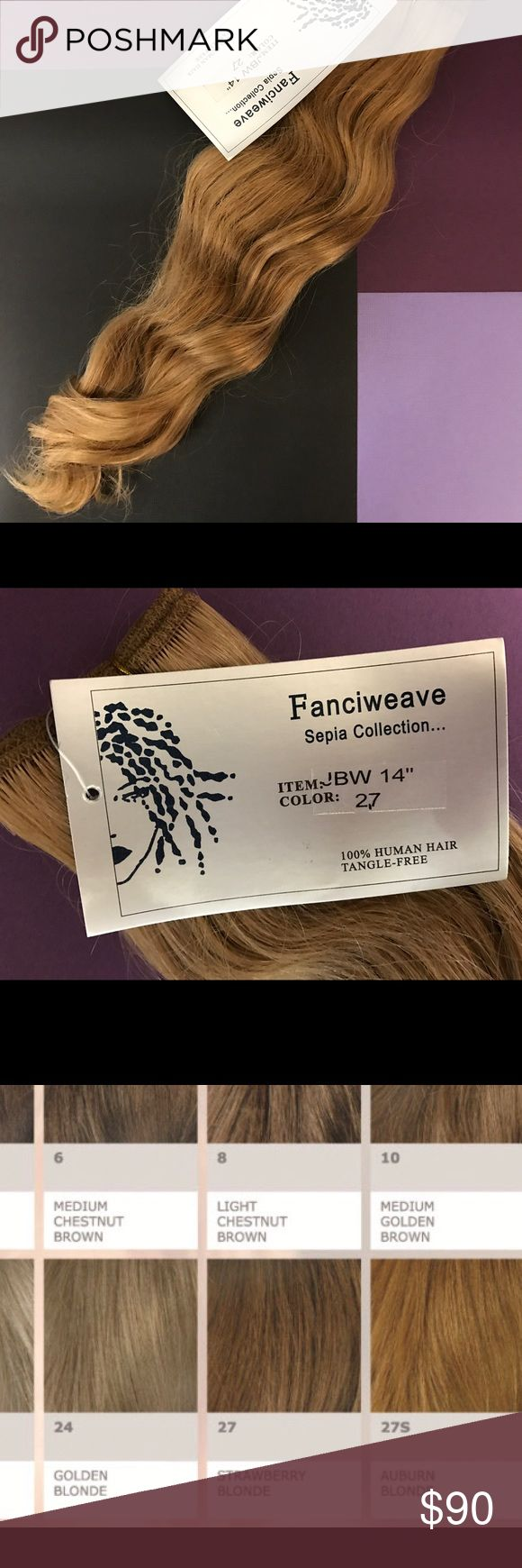 """Hair extensions Sepia Collection Fanciweave 100% human hair extensions 14"""" long, brand new in original packaging. The color of the extensions is 27S (auburn blonde) on the attached color chart. Great quality hair. Sepia Collection Other"""