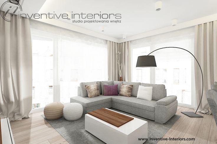 Projekt salonu Inventive Interiors - szary narożnik w tkaninie z widocznym splotem