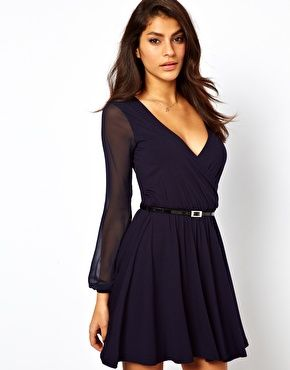 Enlarge ASOS Skater Dress With Chiffon Sleeves And Belt