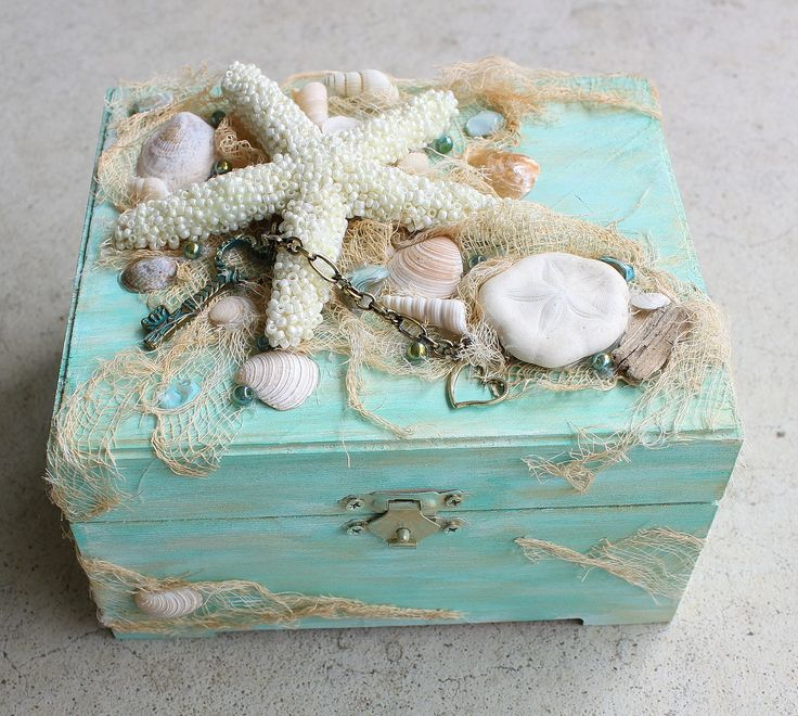 Shell Box Shell Jewelry Box Treasure Box Trinket Box Sea Treasure Box Mermaid Treasure Box Starfish Box Beach Jewelry Box Wooden Box Coastal by CathyCJewelsandDecor on Etsy