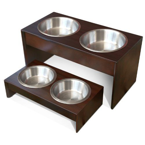 awesome PetFusion Elevated Pet Feeder in Premium Solid Wood. FOOD GRADE Stainless steel bowls