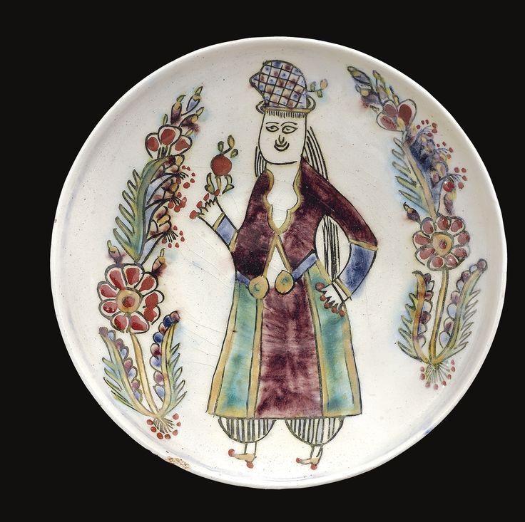 A Kütahya dish depicting a woman, Turkey, second half 18th Century