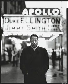 Duke Ellington in front of the Apollo Theatre, New York, 1963. Photograph by Richard Avedon. The article is useful.
