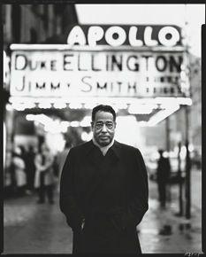 Duke Ellington in front of the Apollo Theatre, New York, 1963. Photograph by Richard Avedon.