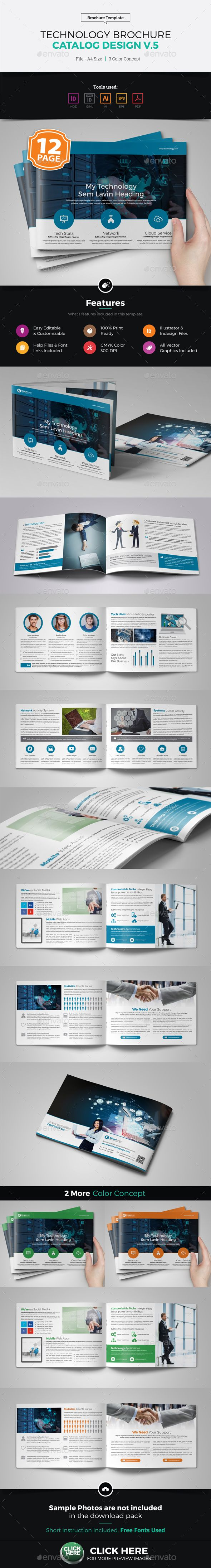 Technology Brochure Catalog Design v5 — Vector EPS #wifi bifold brochure #bifold brochure • Download ➝ https://graphicriver.net/item/technology-brochure-catalog-design-v5/19410581?ref=pxcr