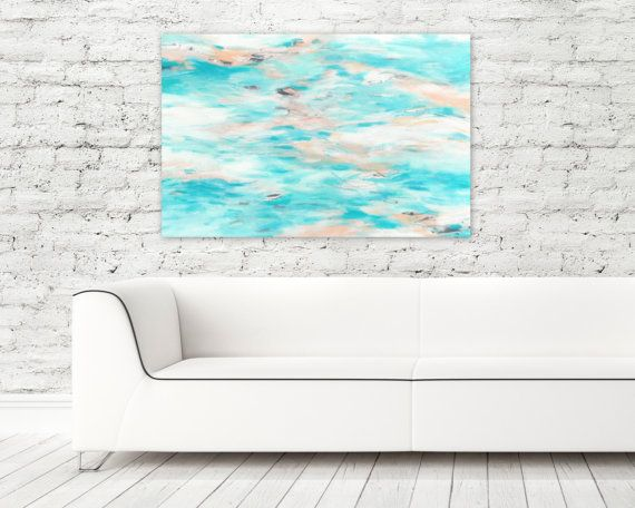 """Beach House Home Decor Abstract Expressionist Painting Modern Art by Jessica Torrant. """"Paradise With You"""", acrylic on 24"""" x 36"""" canvas."""