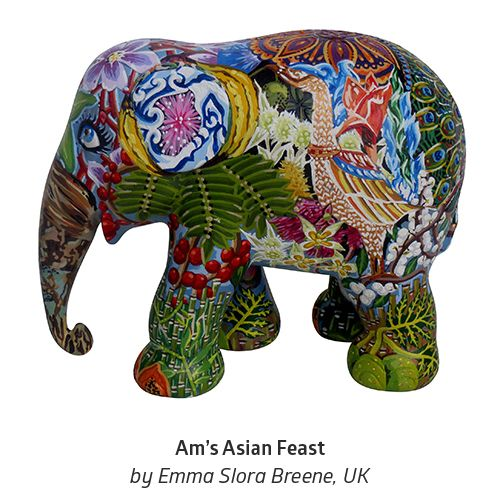 """'Am's Asian Feast' by Emma Slora Breene from Northampton, UK. """"My elephant design was inspired by meeting a baby elephant named Am, whose name can mean 'immortal'. He had a voracious appetite for bananas, and the design incorporates this together with many other fruits, flowers, barks and grasses which constitute an Asian elephant's diet."""" #ArtboxContestFinals #ElephantParade #Art #Contest #Anantara #Bangkok #ElephantParadeBKK #Conservation"""