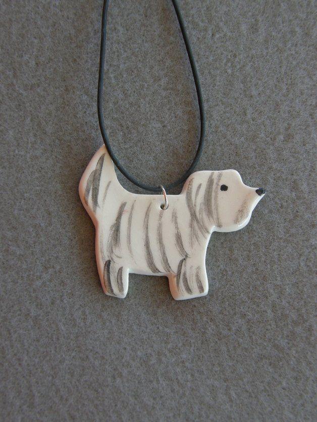 Keramik Hund Anhänger, weiße Hundeanhänger ,