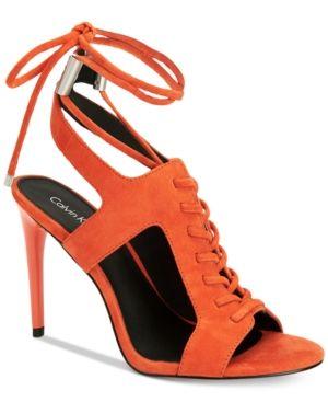 Calvin Klein Women's Santos Lace-Up Dress Sandals - Black 5.5M