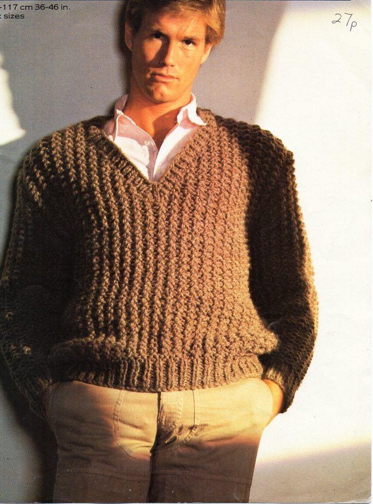 Mens super chunky sweater knitting pattern pdf mans ...