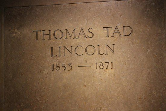 """Thomas """"Tad"""" Lincoln III - Fourth and youngest son of Abraham and Mary Lincoln. The nickname """"Tad"""" was given to him by his father, who found him """"as wiggly as a tadpole"""" when he was a baby. He had free run of the White House, and there are stories of him interrupting Presidential meetings, collecting animals, and charging visitors to see his father. He died at the age of 18 on July 15, 1871, in Chicago."""