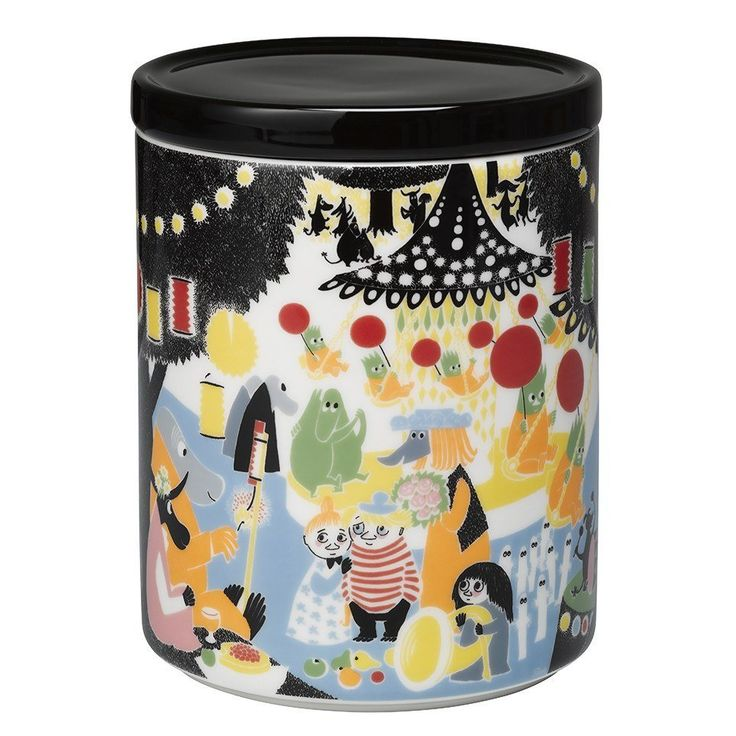 "The new Moomin Friendship jar by Arabia features a famous motive from the book ""Who will comfort Toffle?"". Arabia artist Tove Slotte has designed this delightful Moomin object keeping with the original drawings. Perfect for hiding away goodies and treasures.Material: Porcelain"