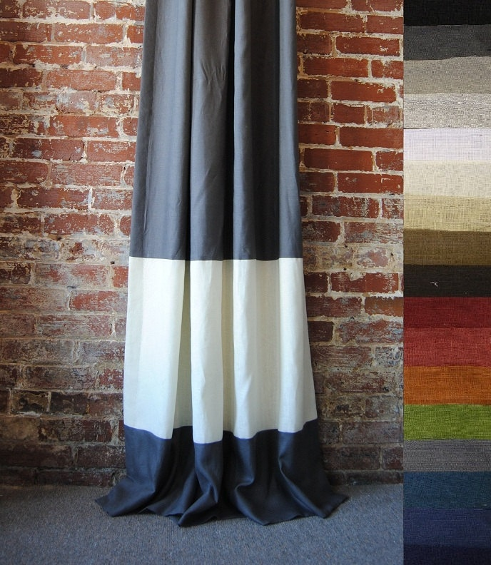 """LOVE this look!  108"""" Banded Drapery Panel- Pick Your Colors. $165.00, via Etsy."""