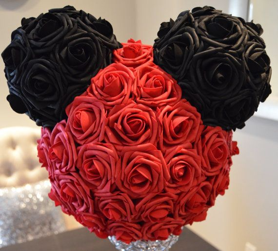 Disney Wedding Centerpiece Mickey Mouse Real Touch Foam Flowers. WEDDING CENTERPIECE Pomander Kissing Ball. Request custom colors.