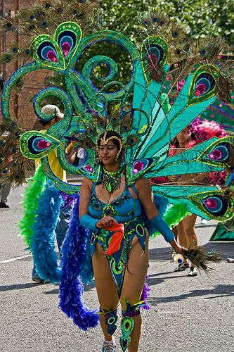 Peacock Carnival Costume. When we wine to Florida and went to a Mardi GRAS parade, the costumes looked like this! Amazing!