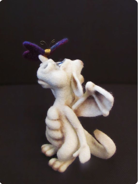 Needle Felted Toy Little Dragon Stuffed toy Home decor by VladaHom, $110.00
