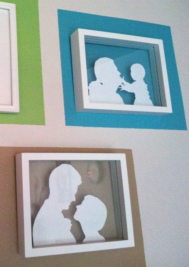 10. SILHOUETTE ART Trace family photos onto white computer paper using graphite transfer paper (tutorial here), cut out the silhouettes and place them between the glass of a floating frame. Paint a square of color on the wall where you plan to hang the frame.  Laura Brinkmann