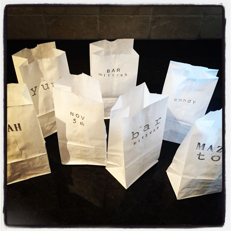 Hand-stamped candy bags #barmitzvah #candybar