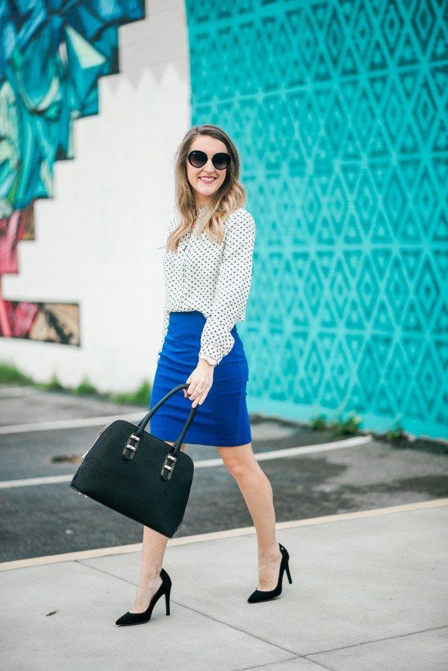 Bold Work Wear: Blue pencil skirt + white blouse