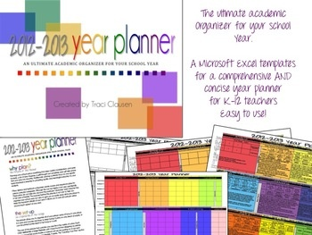 Curriculum Year Planner (K-12) - UPDATED 7/17/2012 - Now includes planners ideal for middle, jr. and high school teachers (4-subject, 3-subject, 2-subject and single subject choice in both color and black and white.)