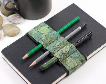 Journal Bandolier // pen loop // green waves by cleverhands
