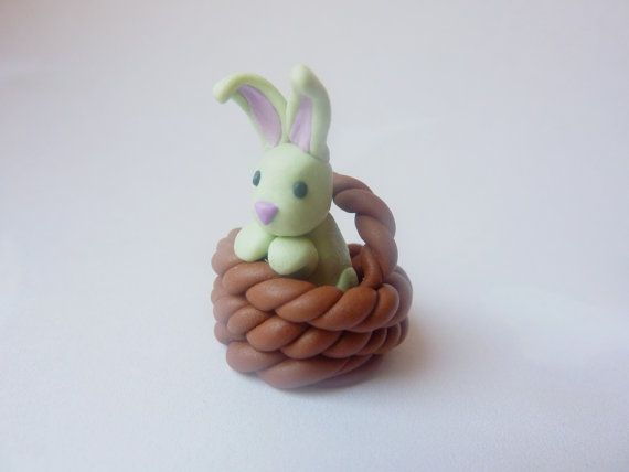 clay bunny http://www.etsy.com/listing/94187142/bunny-in-a-basket-handmade-fimo