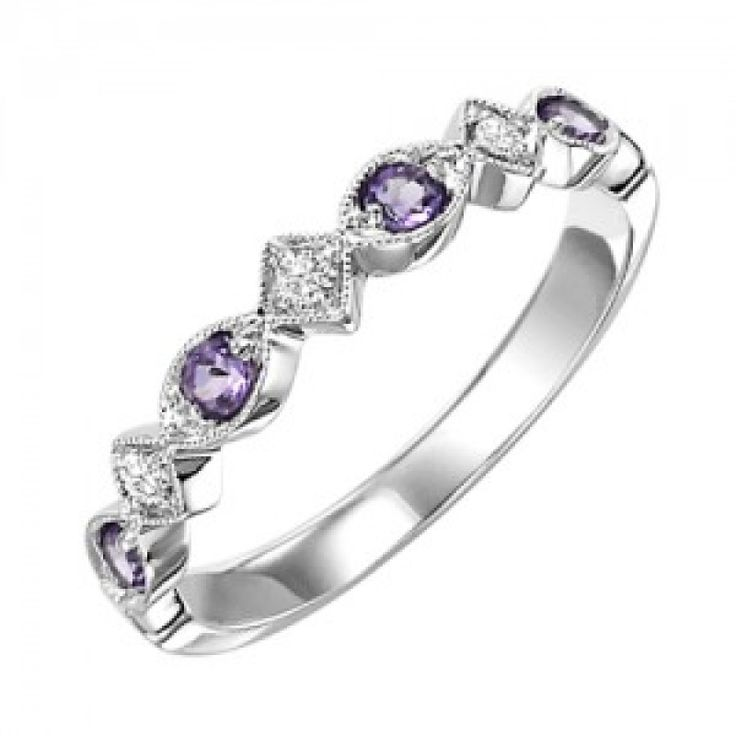 10k white gold and amethyst birthstone ring