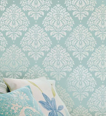 Wall Stencil Damask Kerry SM - Reusable stencils better than wallpaper - DIY decor. $42.95, via Etsy.--LOVE this! I want to use these to paint accent walls in like every room of the new house! :)