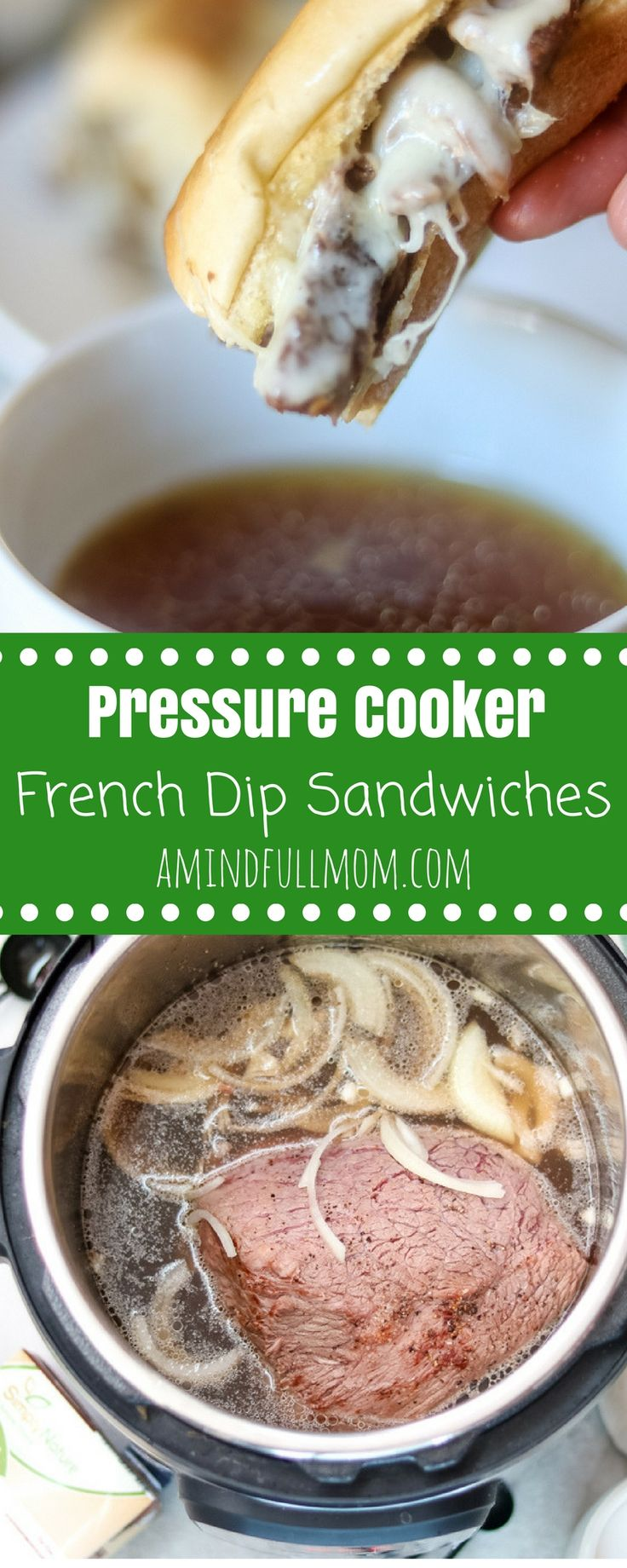 Pressure Cooker French Dip Sandwiches: Easy French Dip Sandwiches are sure to become a new family favorite dinner. Tender chuck roast is piled on a toasted garlic bun and smoothered with provolone cheese. Served up with rich broth on the side for dipping. These delicious sandwiches are made with almost no effort in the Instant Pot or Slow Cooker.