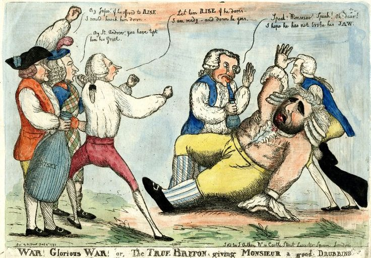 'War! Glorious War! or, The True Briton giving Monsieur a good Drubbing' by William Dent, 1793. Pitt k-o's Fox. His seconds are Henry Dundas and (I think) Edmund Burke, while Fox is tended to by Richard Brinsley Sheridan and someone I don't recognise.